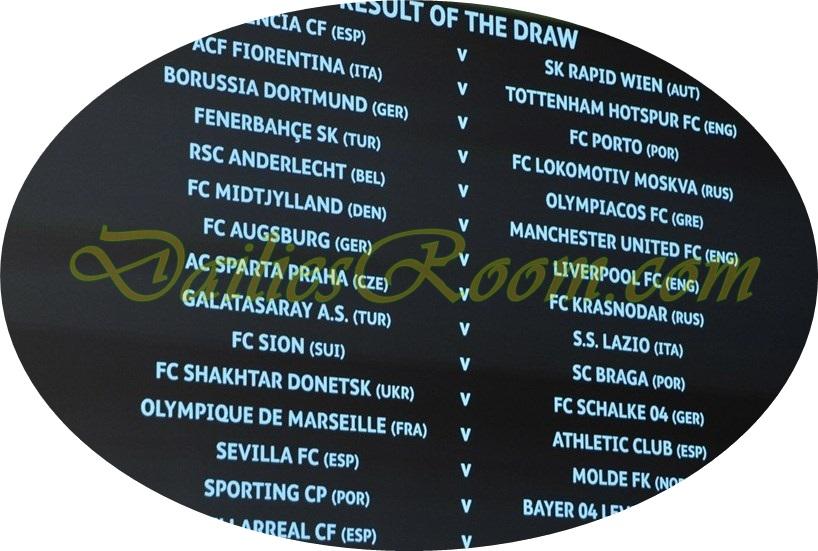 Europa League Last 32 Draw Full list