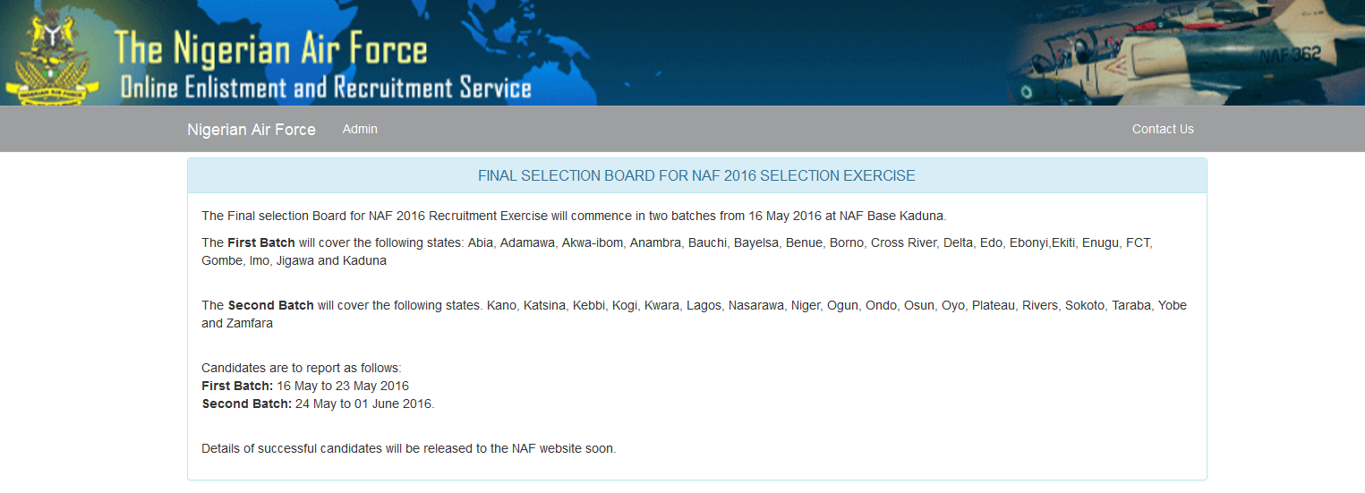 List of Successful Candidates for Nigerian Air Force 2016