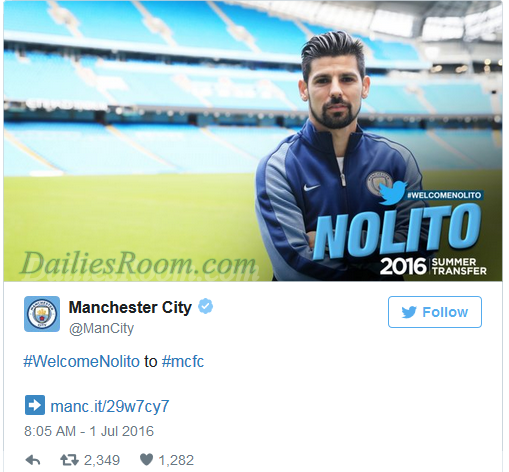 Manchester City complete Nolito signing from Celta Vigo - Guardiola second signing for City