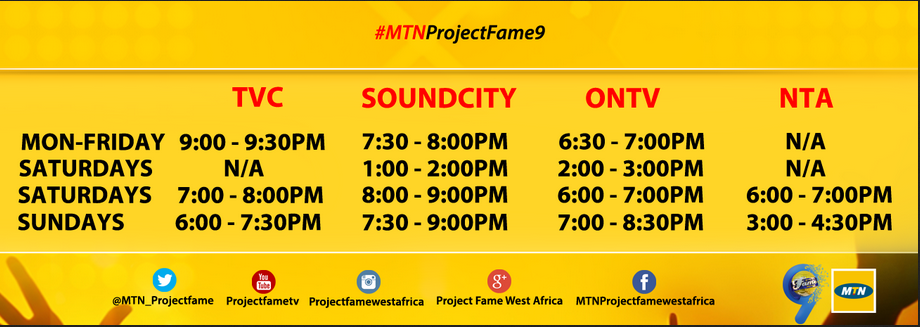 MTN Project Fame Season 9 TV Schedule & TV Station, Time, Date