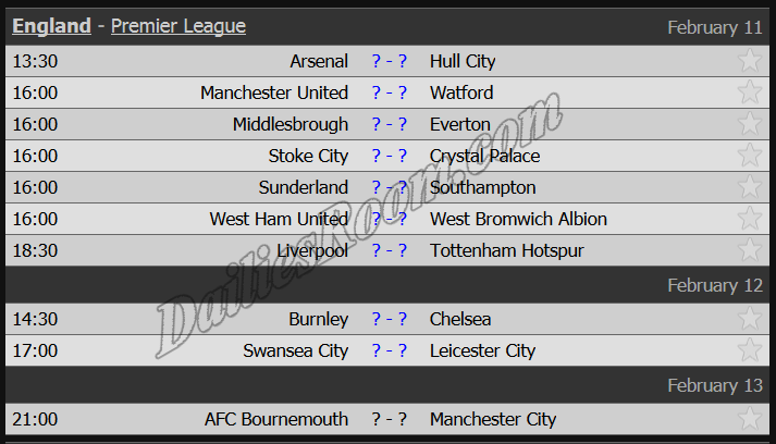 upcoming epl fixtures