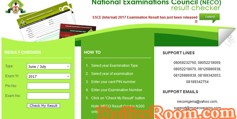 www.mynecoexams.com/results - How To Check NECO Result 2018