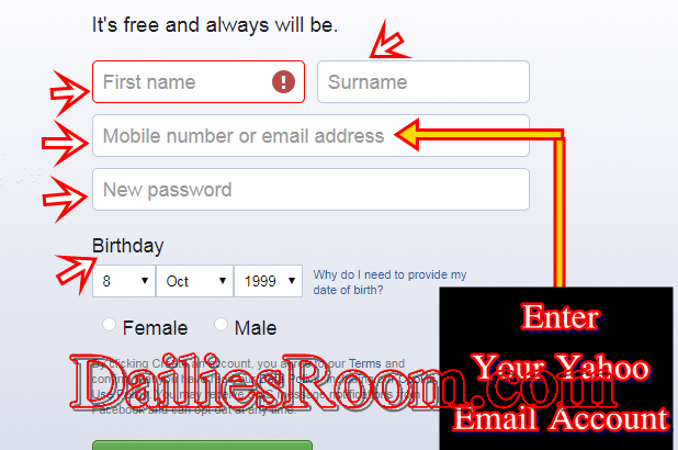 Yahoo Registration New Account For Facebook Account Or other Reasons