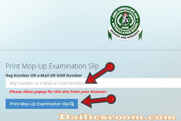 www.jamb.org.ng - How To Print Mop-Up Examination Slip