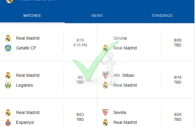 2018-19 Season Real Madrid La Liga Fixtures In Full