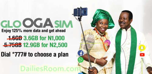 Glo Oga Sim Data Subscription: Get 125% Data Bonus On Plans