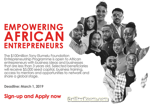 2019 Tony Elumelu Foundation Entrepreneurship Program: How To Apply