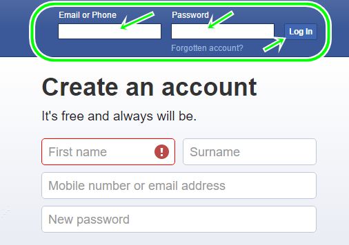 Facebook Email Sign Up From www.facebook.com | FB Profile Sign In