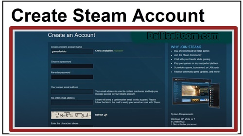Steps To Create Steam Account For Games Online